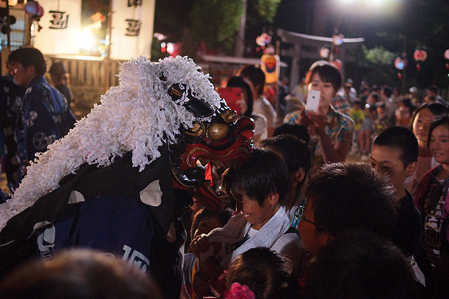 三田天満神社の夏祭で子どもの頭を噛む獅子舞