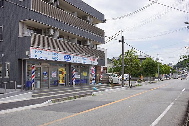 理容cut-A(カットエー)三田店から西方面の道
