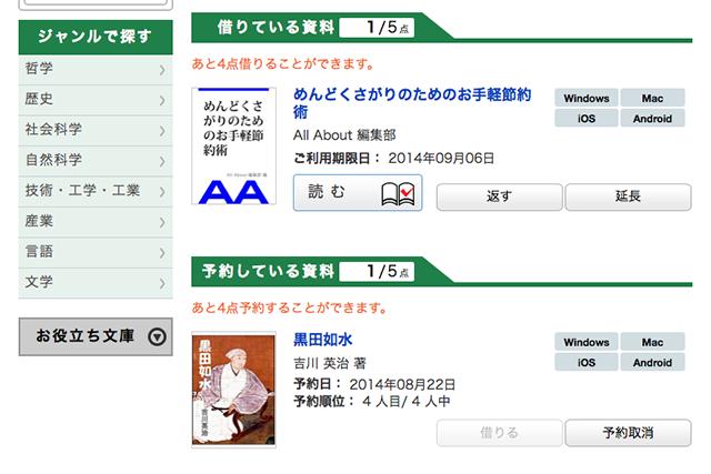 三田市電子図書館の貸出状況確認画面