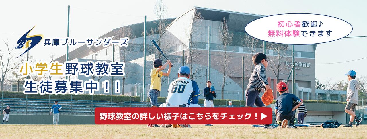 兵庫ブルーサンダーズ小学生野球教室 生徒募集中!